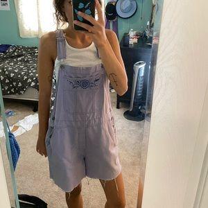 Vintage lavender short overalls